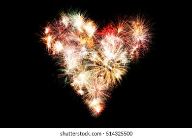 New year fireworksheart shaped. background full of color