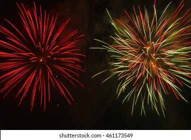 New year fireworsk in green and red colors