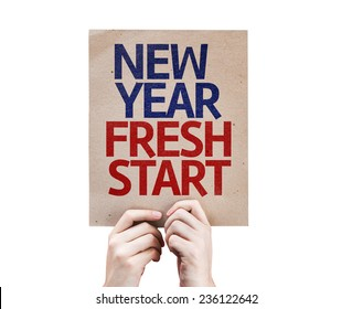 New Year Fresh Start card isolated on white background