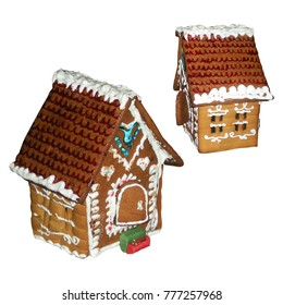 New Year gingerbread house with white icing on white background