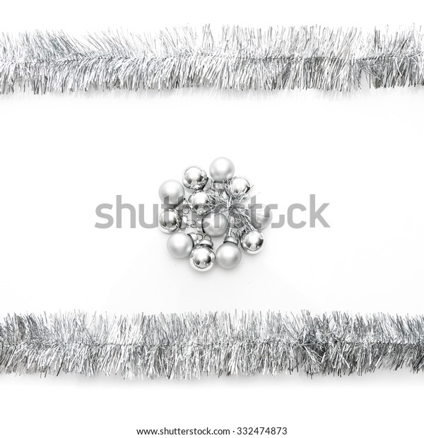 New year greeting card made of silver tinsel frame and silver christmas balls