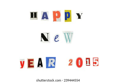 New Year greetings for 2015 written with letters from a newspaper