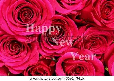 new year greetings with red roses happy new year card