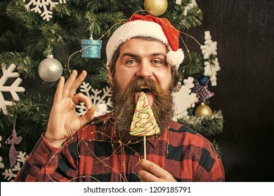 New year guy lick candy or sweet. santa claus man in hat at decoration. Party celebration and blowjob. Winter holiday and xmas. Christmas man with beard on happy face, ok gesture and lollipop.