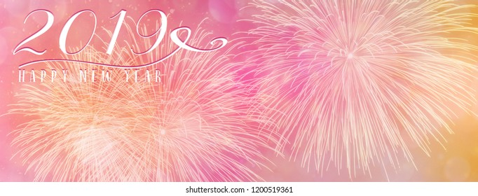 New Year Holiday 2019 background banner with fireworks and seasonal quote. social media influencers and bloggers.