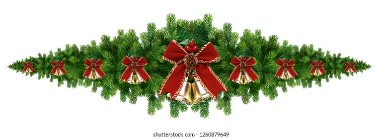New year holiday decoration element. Decorative isolated border from a Christmas tree branches, a holly and bells with a ribbon.