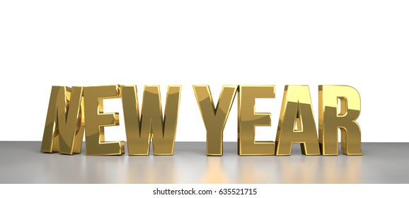 new year isolated golden symbol 3d rendering
