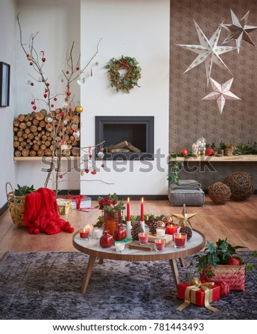 New Year Living Room Concept Christmas Style Modern Home Decoration With Fireplace Decor And Design