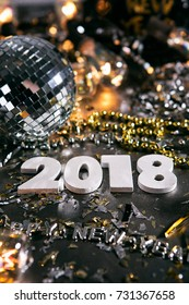 New Year: Lots Of Copyspace Around 2018 And Disco Ball