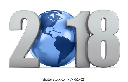 New Year metalic inscription 2018 and blue globe on a blue background. 3d render illustration.