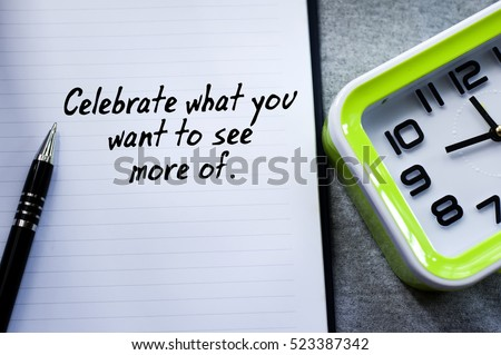 a new year motivational quotes in the background of pen book and green desk clock
