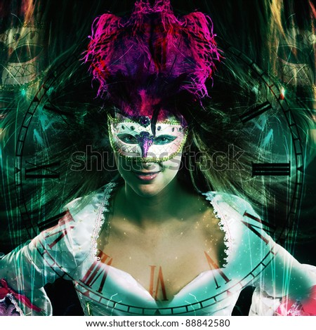 new year party background in fantasy style with a clock and with a venetian masked woman
