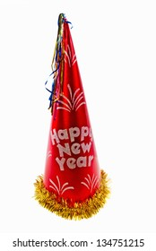 New Year party hat on an isolated white background.
