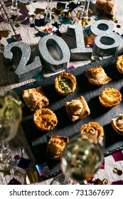 New Year: Party Snacks With Champagne And Metal 2018