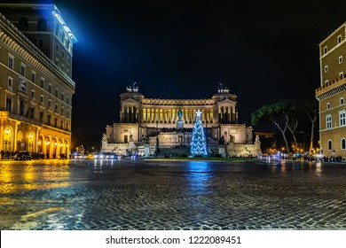 New Year: Piazza Venezia and monument to Victor Emmanuel II (Altare della Patria) built in honour of Victor Emmanuel at Night. Rome, Italy.