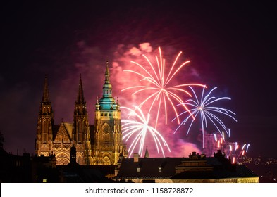 New Year in Prague city next to Prague Castle, St. Vitus Cathedral.