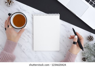 New Year Resolution Aspirations Passion Motivation Concept. Flat lat top view mockup with notepad, notebook,laptop tea,woman hand. Fir tree branches and pine cones duotone background