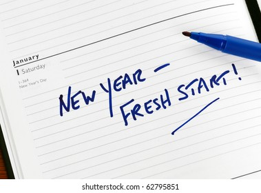 New Year resolution marked in a diary for January 1