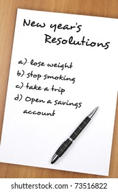 New year resolution with as most important