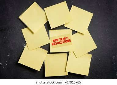 New Year Resolution Yellow sticky notes