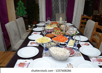 New year russian holyday dinner laid festive table