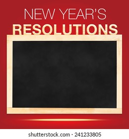 New year 's Resolutions : blank Blackboard with red background, Template mock up for adding your content