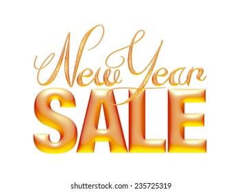 New Year Sale 3d text Design in orange on white background