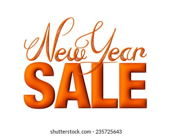 New Year Sale 3d text Design in reddish brown on white background