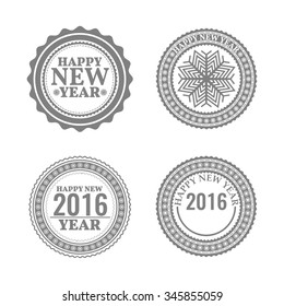 New Year set, labels and emblems in retro style