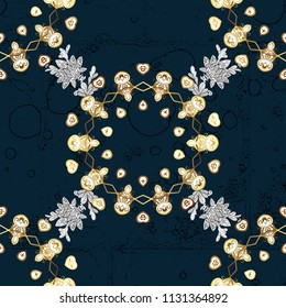 New year snowflake. Cute abstract snowflake design on blue, white and brown colors. Flat snow doodle icons, snow flakes silhouette for christmas banner, cards.