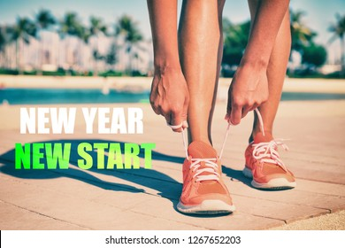 New Year New Start fitness new year resolution runner woman tying up laces of running shoes getting ready to run for weight loss. Athlete on summer beach