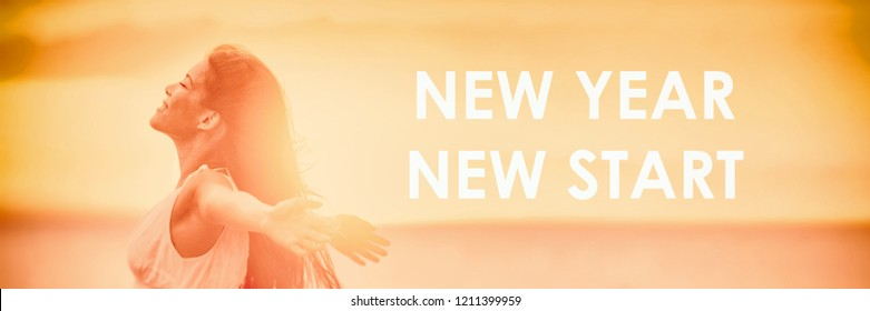 NEW YEAR NEW START motivational message, inspirational quotes for the New Year 2019 resolution in fitness weight loss. Happy woman with arms up for new life challenge banner panorama.