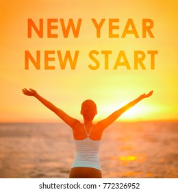NEW YEAR NEW START motivational message, inspirational quotes for the New Year resolution in fitness weight loss. Happy woman with arms up in success winning at the sky for new life challenge.