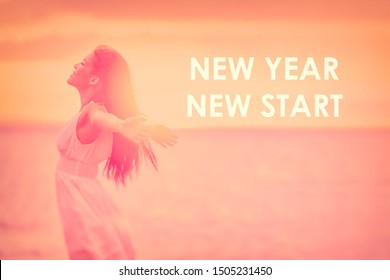 New Year New Start Resolution for 2020 woman feeling happy emotion free in sunset freedom with text NEW YEAR NEW START on red dusk color copy space nature beach background.