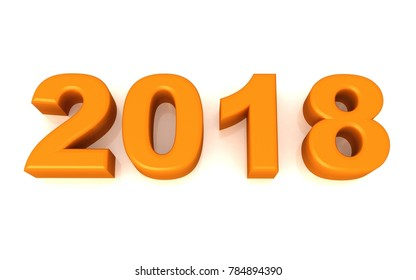 new year text 2018 3d rendering