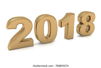 new year text gold 2018 3d rendering