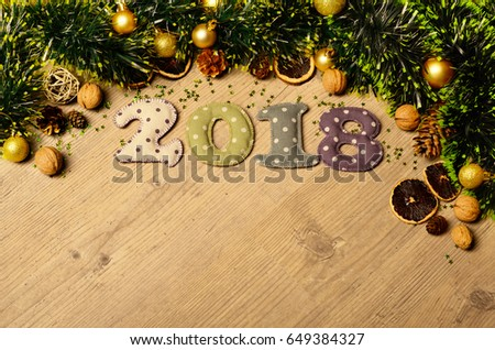 new year theme decoration figures of 2018 with spices and golden balls