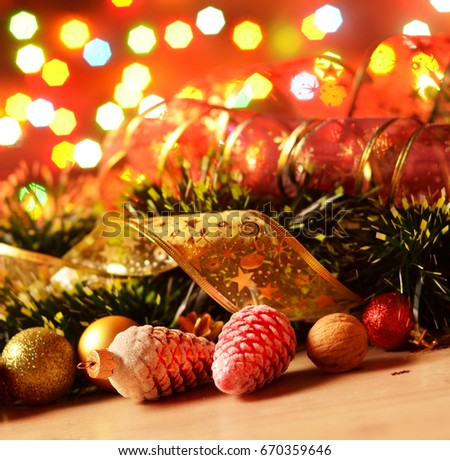 new year theme decorations with focus on fir cones