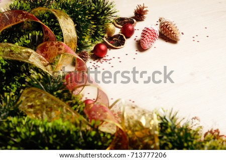 new year theme decorations with garlands and stripes