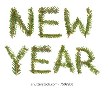 New Year title made with pine isolated over white background