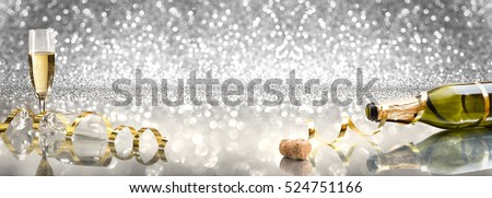 New Year Toast champagne banner, silver background, golden ribbon