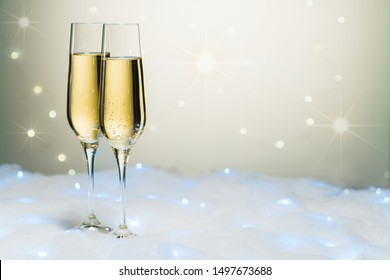 New year toast champagne, Flutes on snow