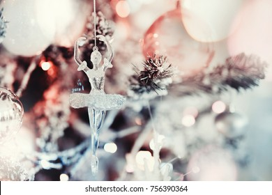 New Year toy on Christmas tree, Concept xmas, gifts.