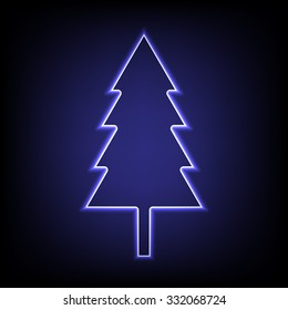 New year tree with neon effect