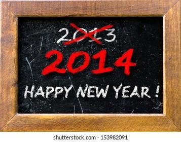 New year vintage chalk text label on a blackboard