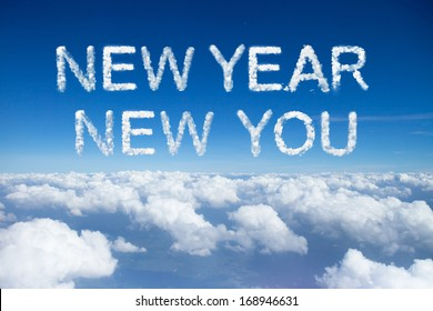 new year new you clouds word on sky over clouds.