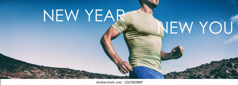 New Year New you Fitness resolution for man - Banner panorama crop of athlete runner running for weight loss concept, goal achievement in training.