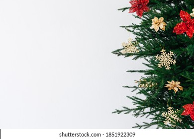 New Year's background Christmas tree decor is the place to sign a postcard