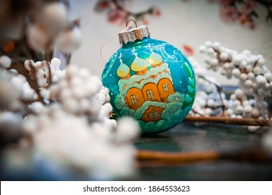 New Year's ball with a drawing of the Orthodox Church. Orthodox Christmas. New Year's toys are handmade.