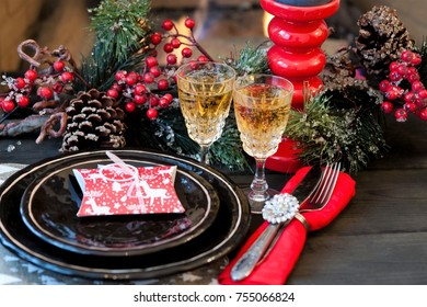 New Year's or Christmas table, table setting, holiday